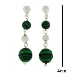 Arete de plata y cristal verde
