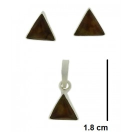 Juego de plata y ambar triangulo